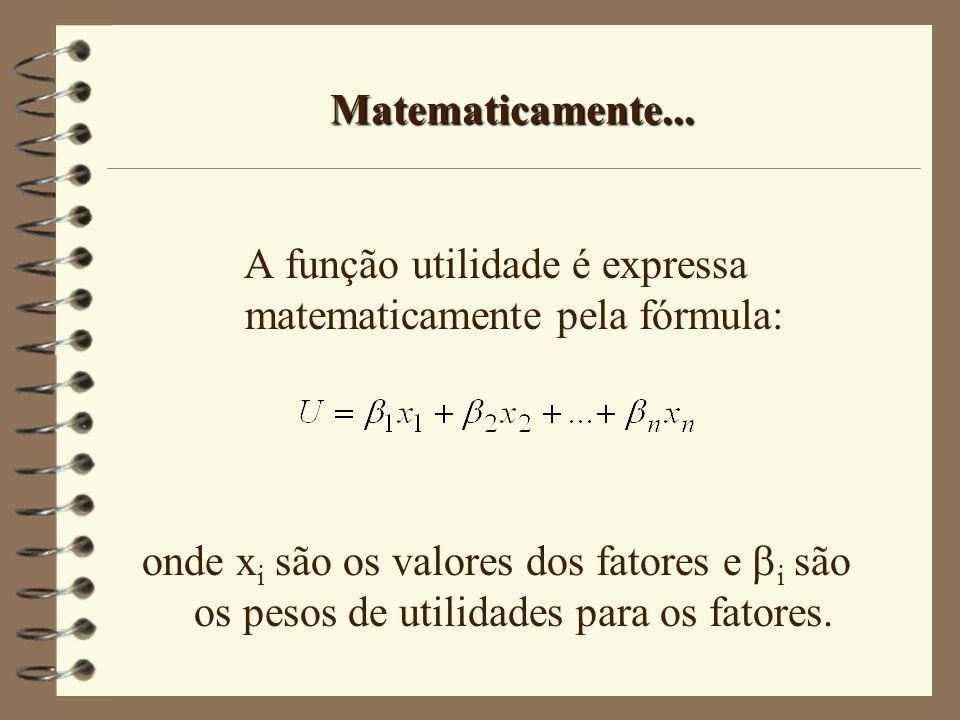 A função utilidade é expressa matematicamente pela fórmula: