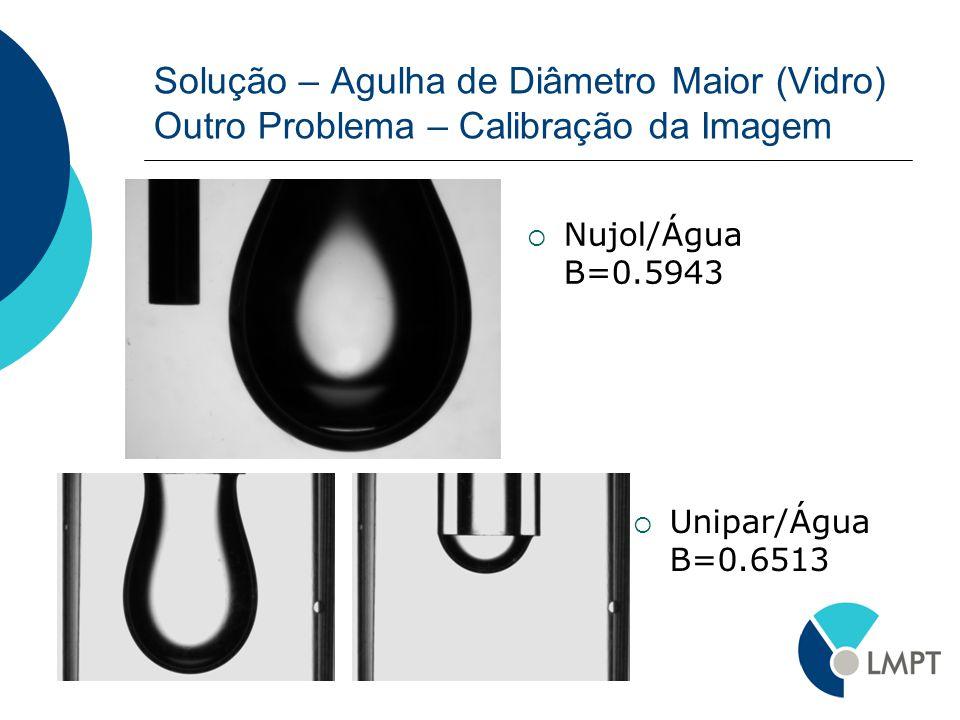 Solução – Agulha de Diâmetro Maior (Vidro) Outro Problema – Calibração da Imagem