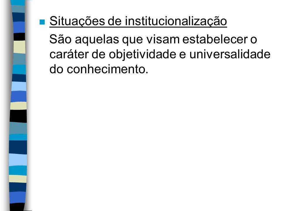 Situações de institucionalização