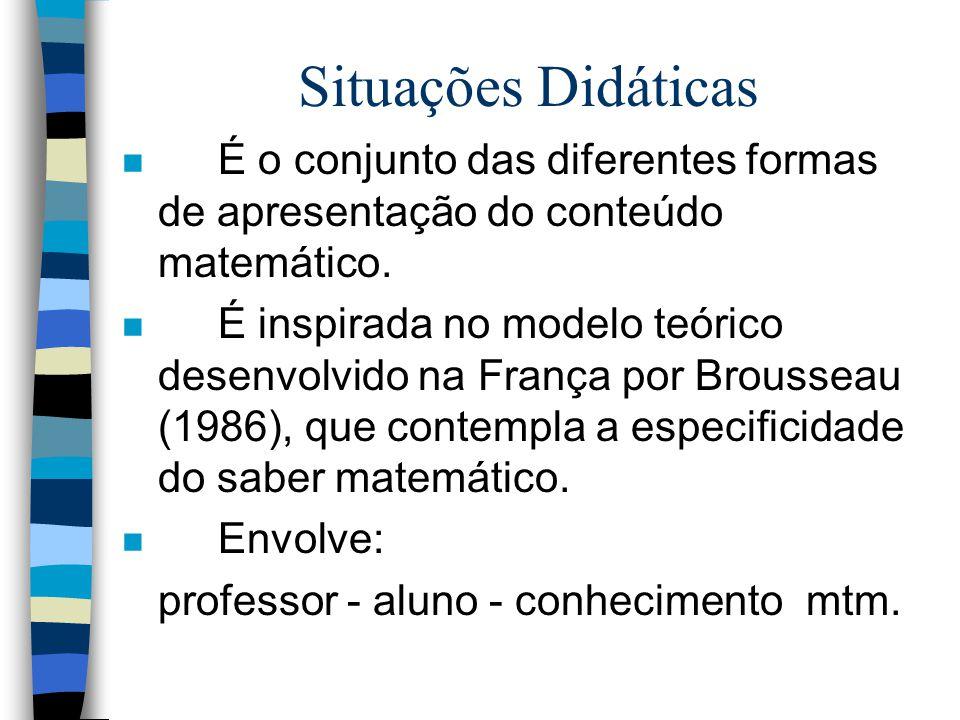 Situações Didáticas É o conjunto das diferentes formas de apresentação do conteúdo matemático.