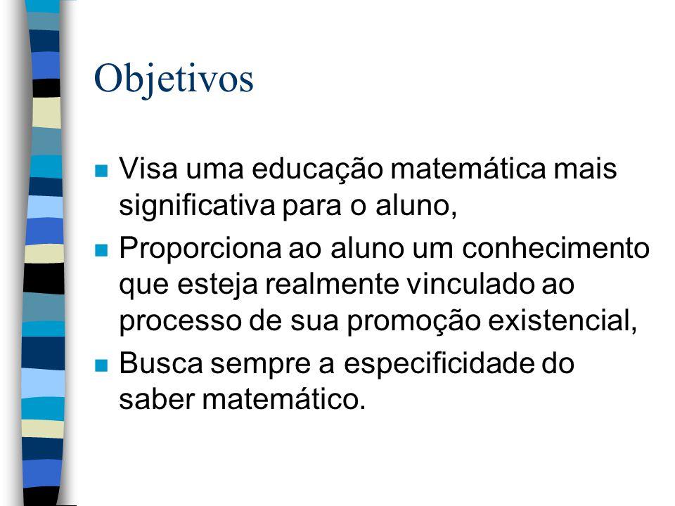 Objetivos Visa uma educação matemática mais significativa para o aluno,