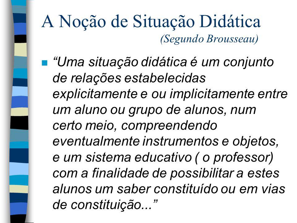 A Noção de Situação Didática (Segundo Brousseau)