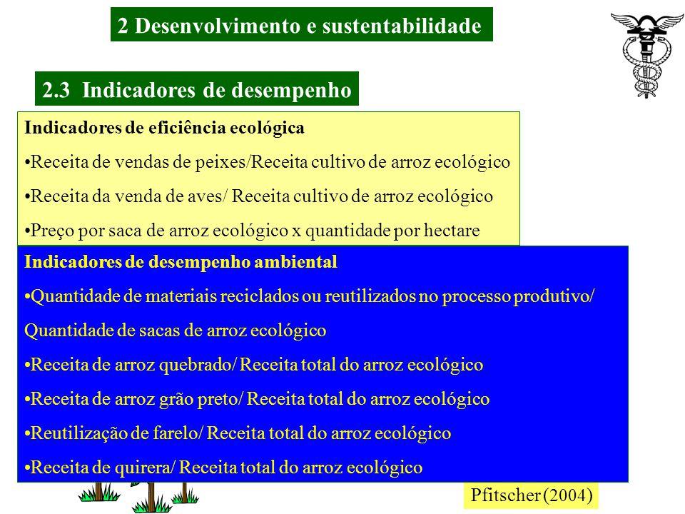 2 Desenvolvimento e sustentabilidade 2.3 Indicadores de desempenho