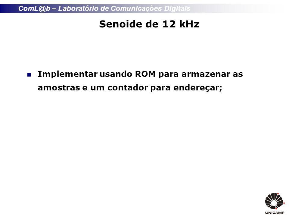 Senoide de 12 kHz Implementar usando ROM para armazenar as amostras e um contador para endereçar;