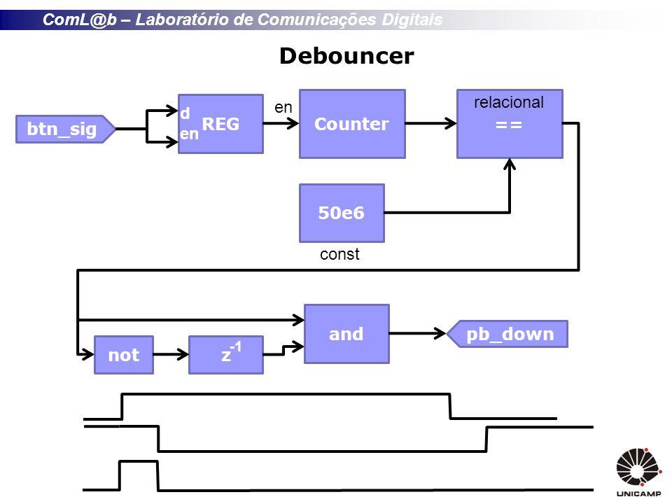 Debouncer en Counter == relacional REG d en btn_sig 50e6 const and
