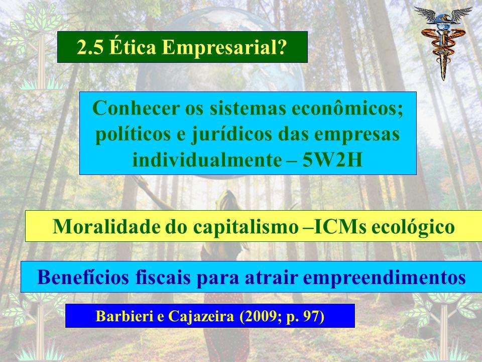 Moralidade do capitalismo –ICMs ecológico