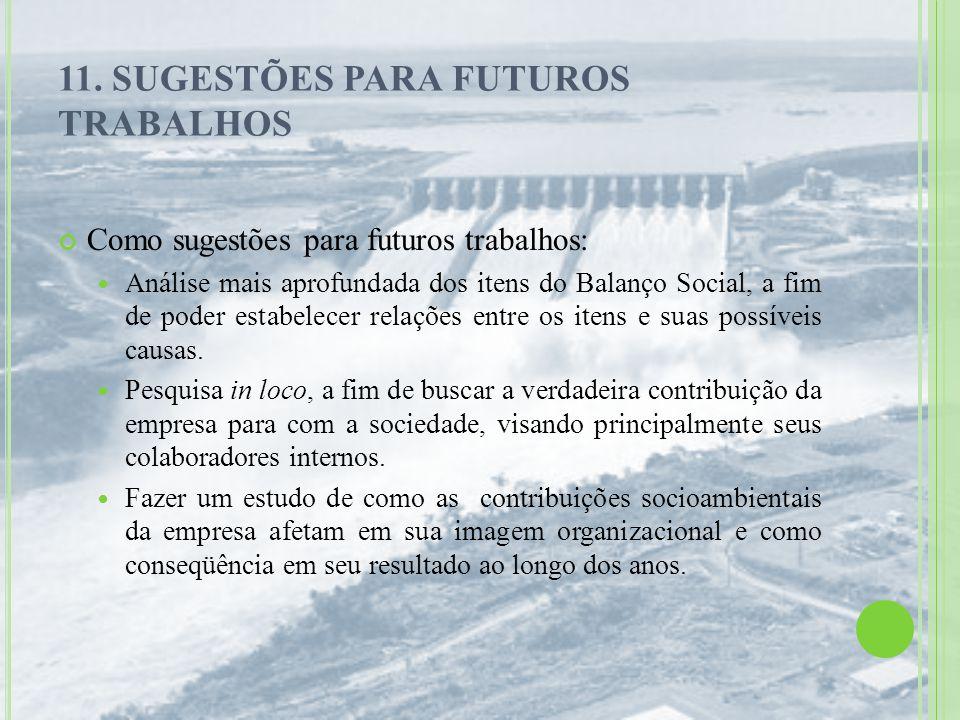 11. SUGESTÕES PARA FUTUROS TRABALHOS