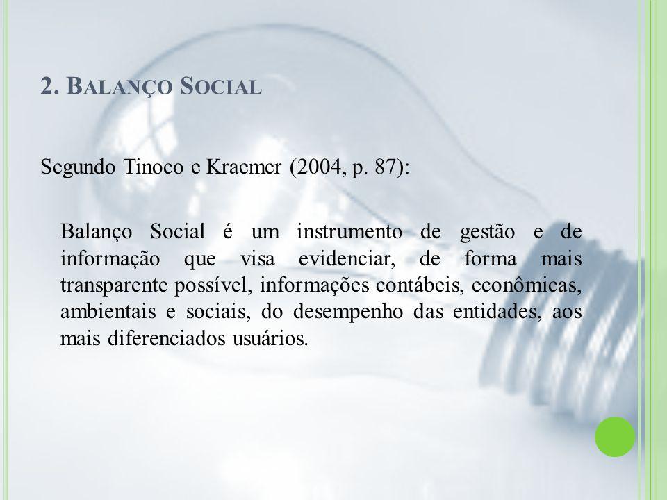 2. Balanço Social Segundo Tinoco e Kraemer (2004, p. 87):