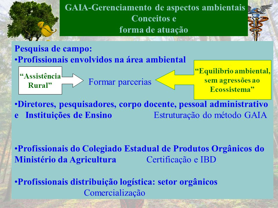 GAIA-Gerenciamento de aspectos ambientais Equilíbrio ambiental,