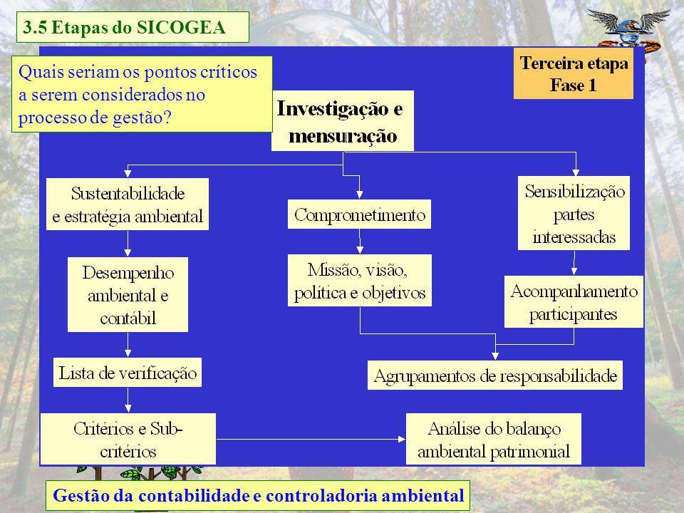 3.5 Etapas do SICOGEA Quais seriam os pontos críticos. a serem considerados no. processo de gestão