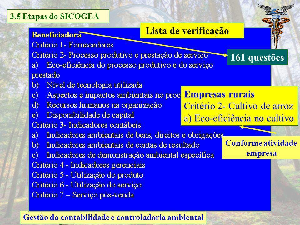 Critério 2- Cultivo de arroz a) Eco-eficiência no cultivo