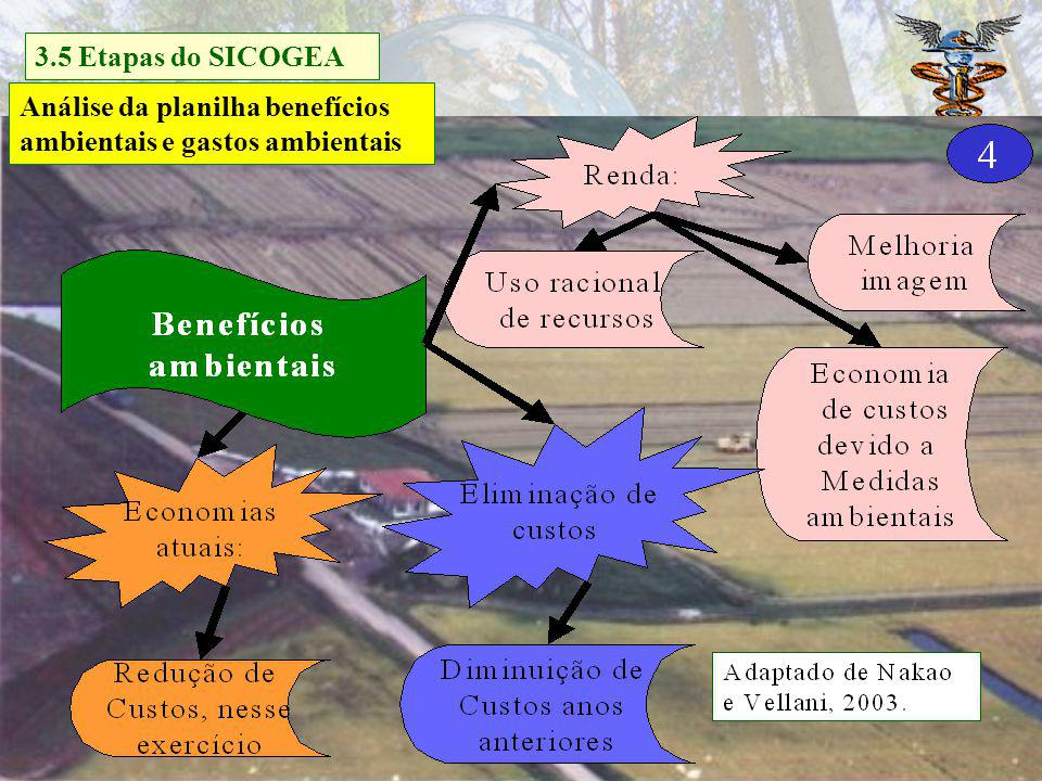 3.5 Etapas do SICOGEA Análise da planilha benefícios ambientais e gastos ambientais.