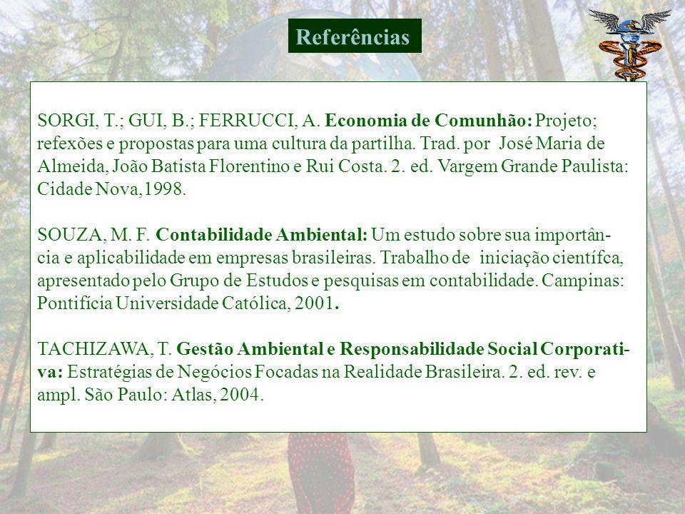 Referências SORGI, T.; GUI, B.; FERRUCCI, A. Economia de Comunhão: Projeto;