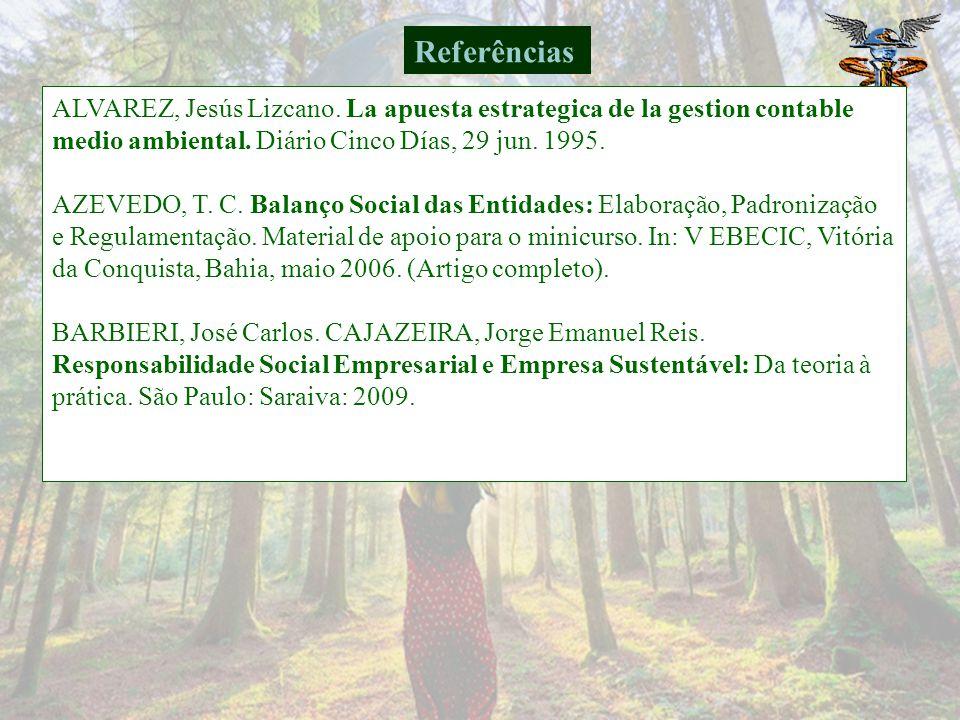 Referências ALVAREZ, Jesús Lizcano. La apuesta estrategica de la gestion contable medio ambiental. Diário Cinco Días, 29 jun. 1995.