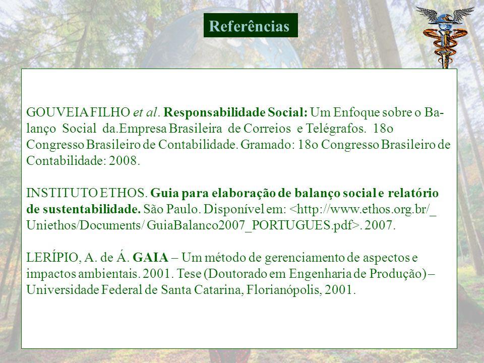 Referências GOUVEIA FILHO et al. Responsabilidade Social: Um Enfoque sobre o Ba-