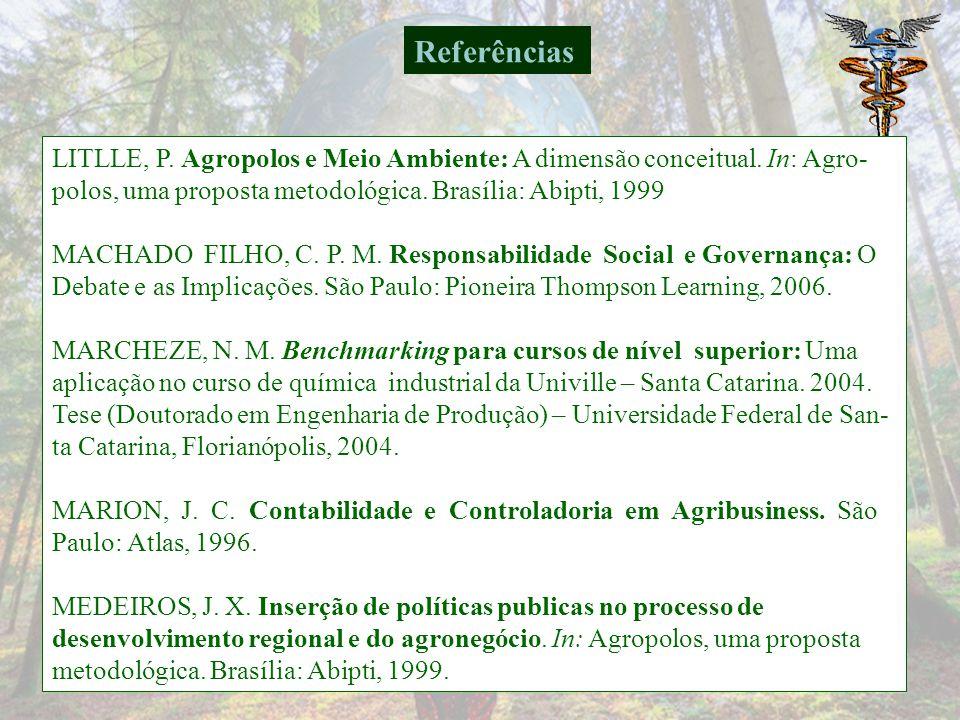 Referências LITLLE, P. Agropolos e Meio Ambiente: A dimensão conceitual. In: Agro- polos, uma proposta metodológica. Brasília: Abipti, 1999.
