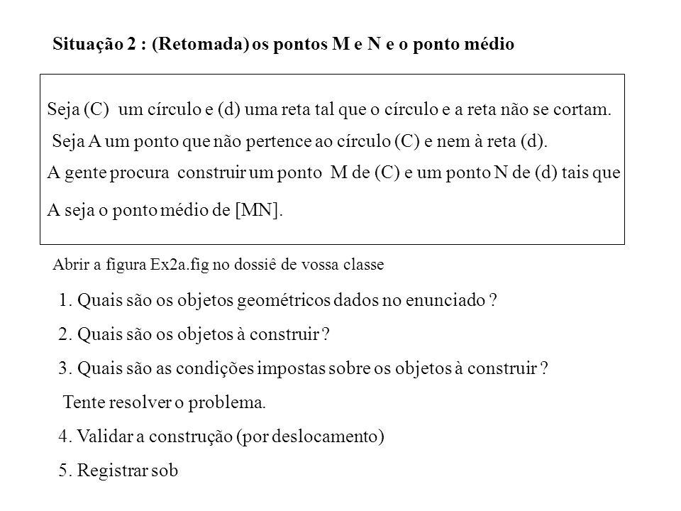 Situação 2 : (Retomada) os pontos M e N e o ponto médio