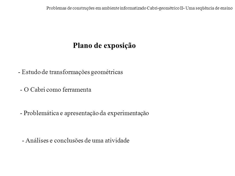 Plano de exposição - Estudo de transformações geométricas