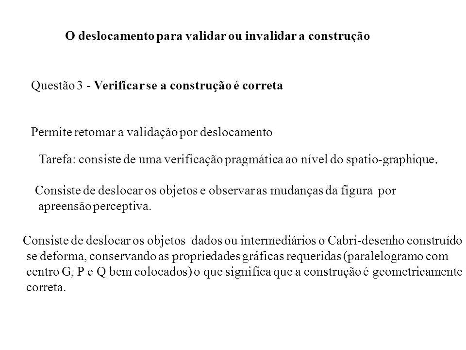 O deslocamento para validar ou invalidar a construção