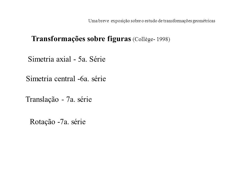 Uma breve exposição sobre o estudo de transformações geométricas