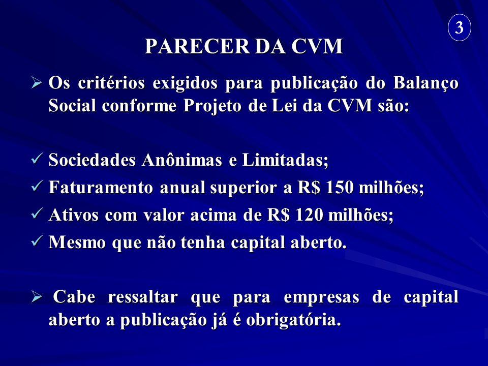PARECER DA CVM 3. Os critérios exigidos para publicação do Balanço Social conforme Projeto de Lei da CVM são: