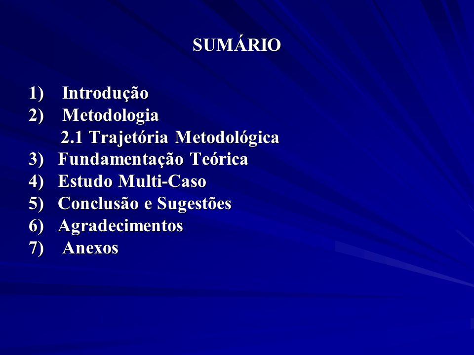 SUMÁRIO 1) Introdução. 2) Metodologia. 2.1 Trajetória Metodológica. 3) Fundamentação Teórica.