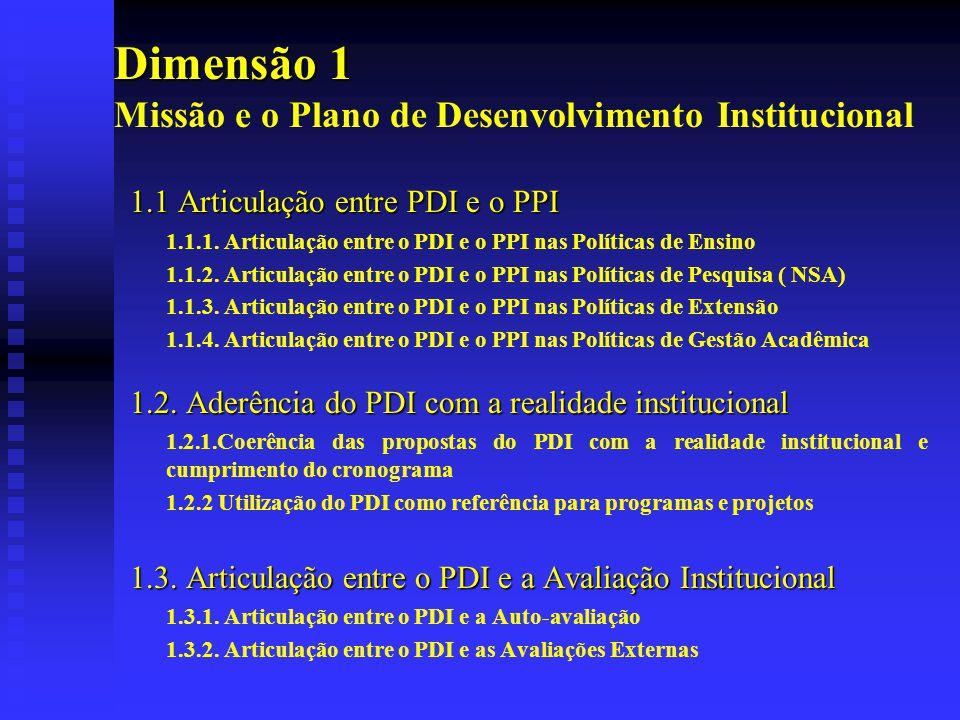 Dimensão 1 Missão e o Plano de Desenvolvimento Institucional