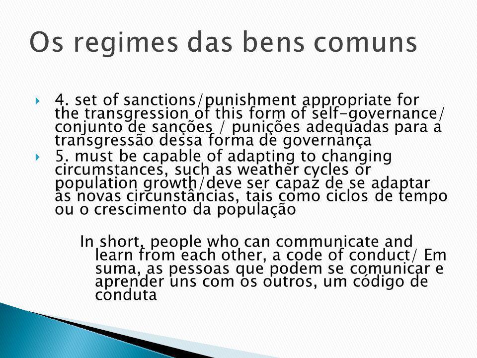 Os regimes das bens comuns