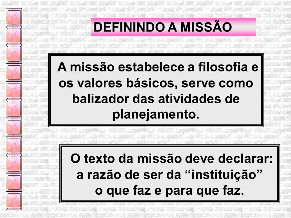 O texto da missão deve declarar: a razão de ser da instituição