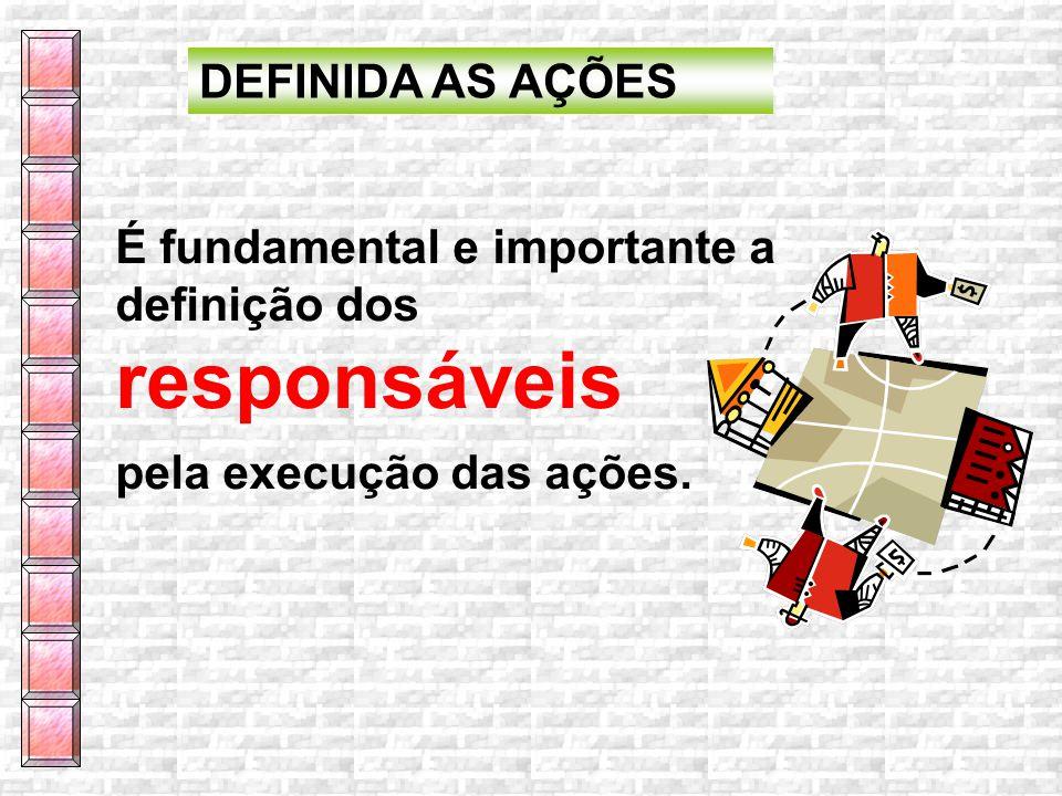 DEFINIDA AS AÇÕES É fundamental e importante a definição dos responsáveis pela execução das ações.