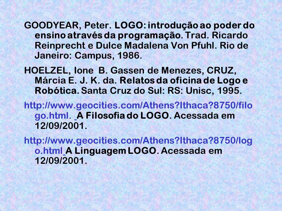 GOODYEAR, Peter. LOGO: introdução ao poder do ensino através da programação. Trad. Ricardo Reinprecht e Dulce Madalena Von Pfuhl. Rio de Janeiro: Campus, 1986.