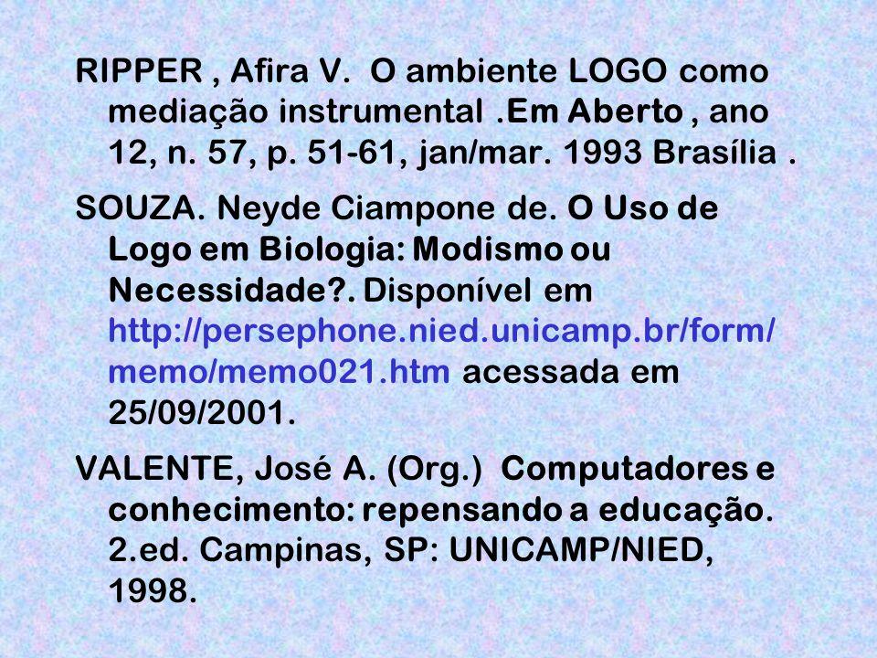 RIPPER , Afira V. O ambiente LOGO como mediação instrumental
