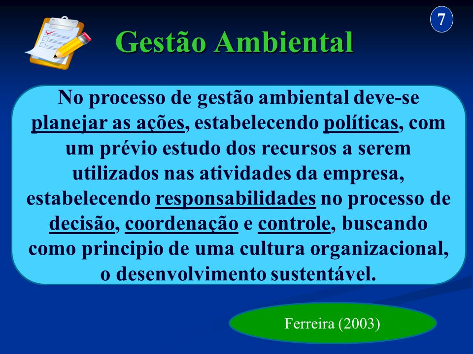 7 Gestão Ambiental.