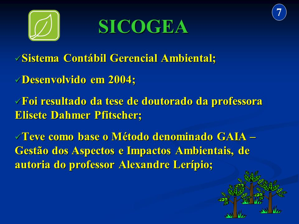 SICOGEA 7 Sistema Contábil Gerencial Ambiental; Desenvolvido em 2004;