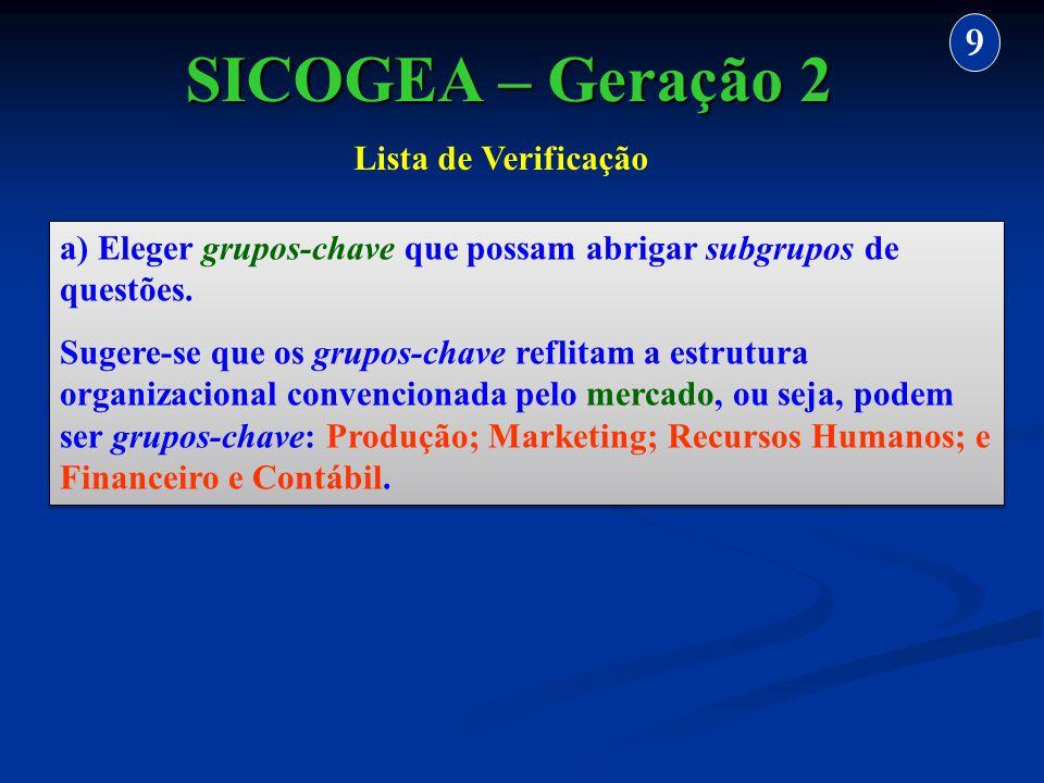 SICOGEA – Geração 2 9 Lista de Verificação