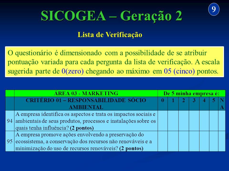 CRITÉRIO 01 – RESPONSABILIDADE SÓCIO AMBIENTAL