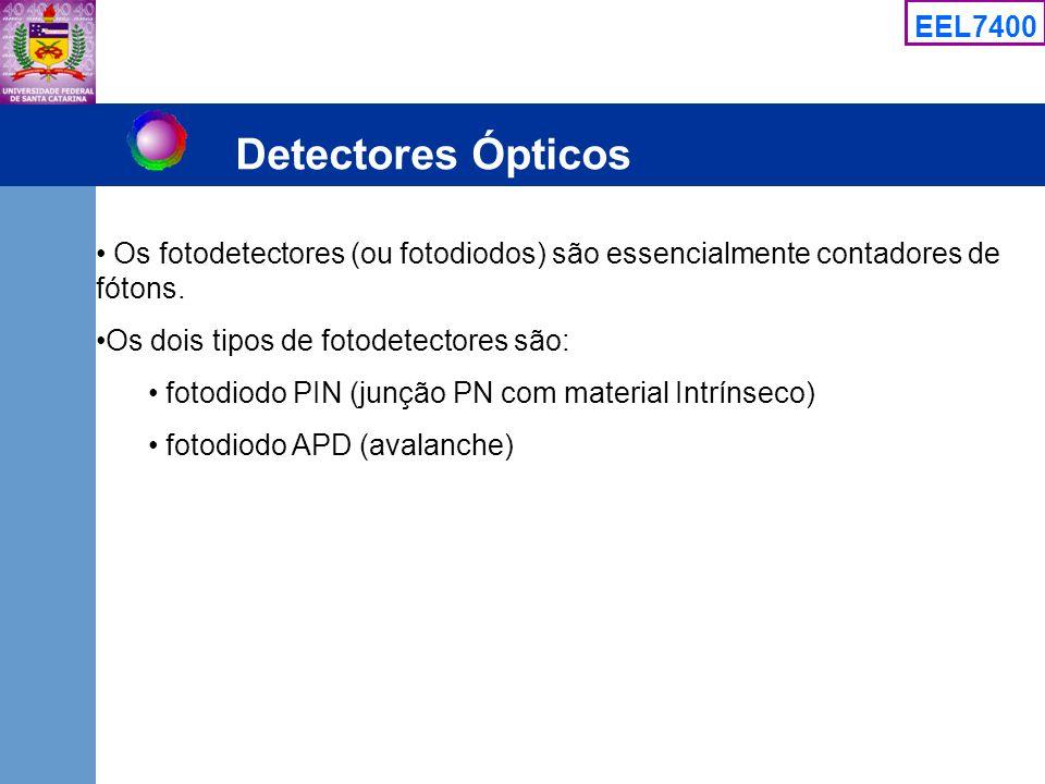 Detectores Ópticos Os fotodetectores (ou fotodiodos) são essencialmente contadores de fótons. Os dois tipos de fotodetectores são: