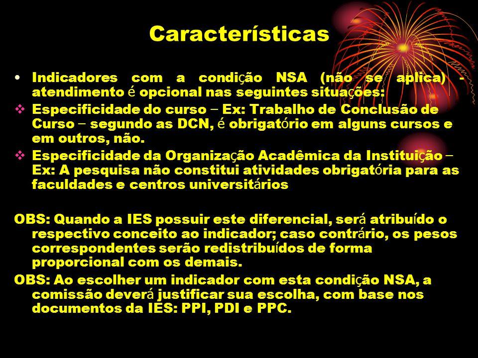 Características Indicadores com a condição NSA (não se aplica) - atendimento é opcional nas seguintes situações: