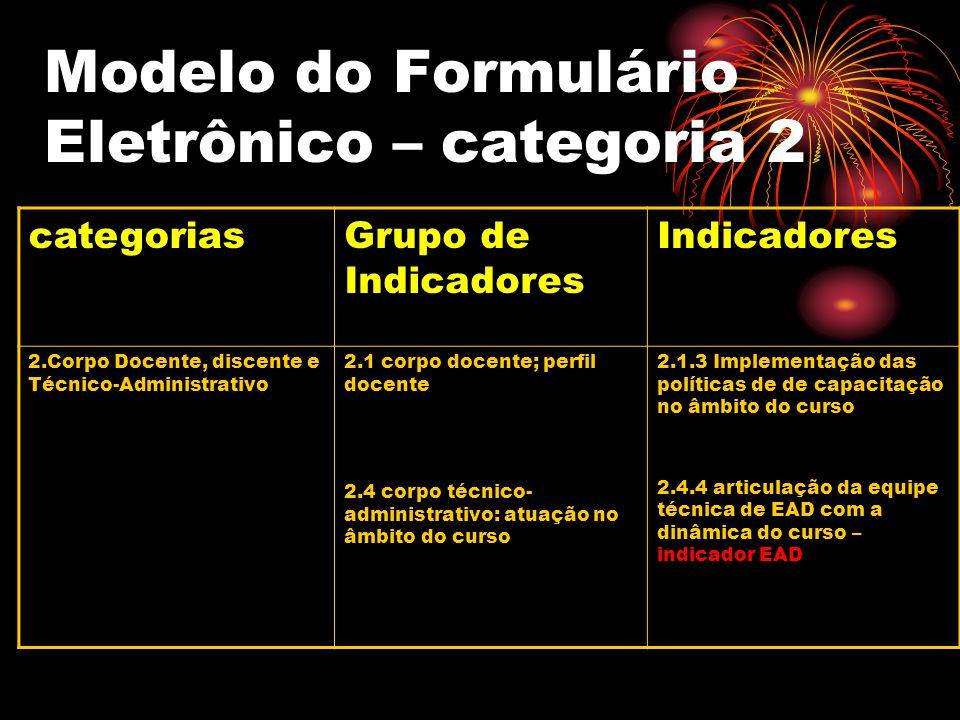 Modelo do Formulário Eletrônico – categoria 2