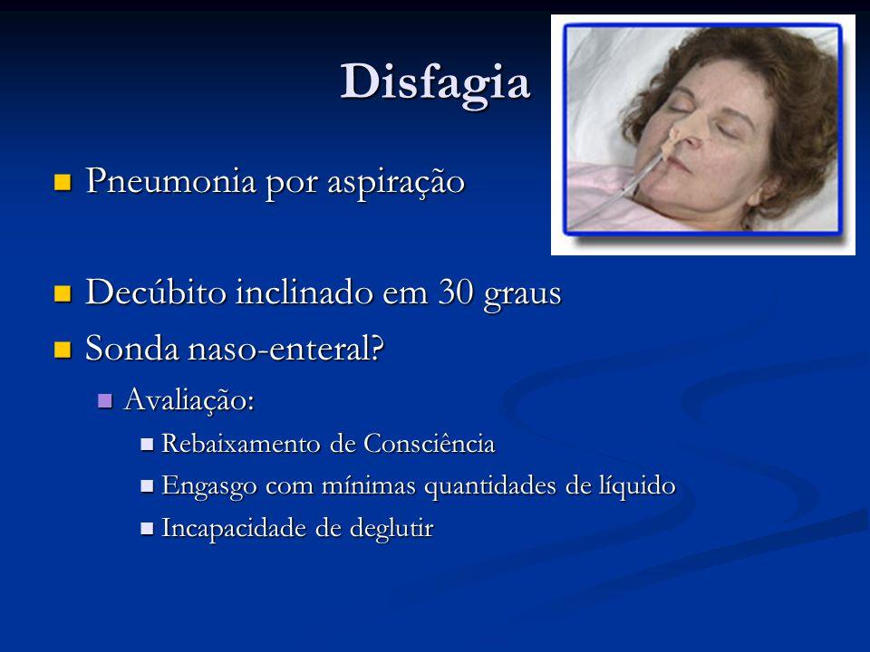 Disfagia Pneumonia por aspiração Decúbito inclinado em 30 graus