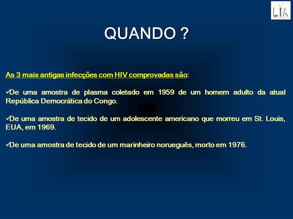 QUANDO As 3 mais antigas infecções com HIV comprovadas são: