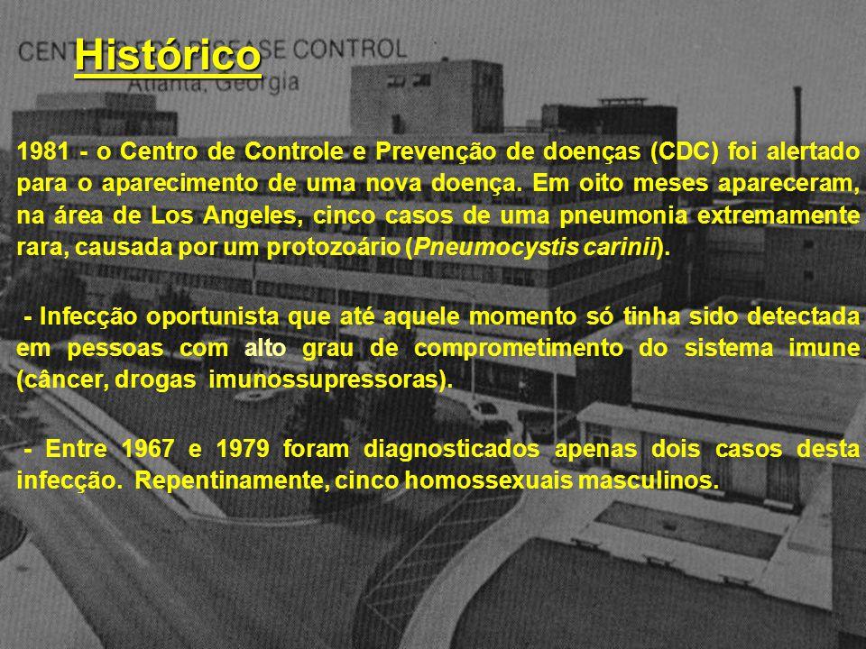 1981 - o Centro de Controle e Prevenção de doenças (CDC) foi alertado para o aparecimento de uma nova doença. Em oito meses apareceram, na área de Los Angeles, cinco casos de uma pneumonia extremamente rara, causada por um protozoário (Pneumocystis carinii).