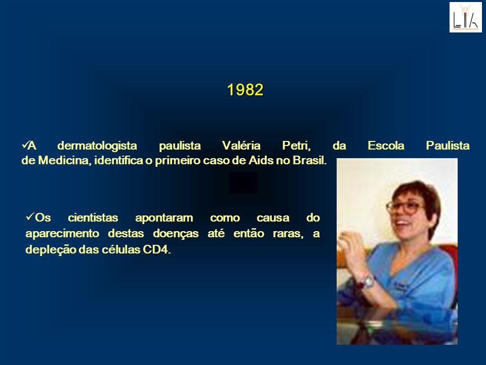 1982. A dermatologista paulista Valéria Petri, da Escola Paulista de Medicina, identifica o primeiro caso de Aids no Brasil.