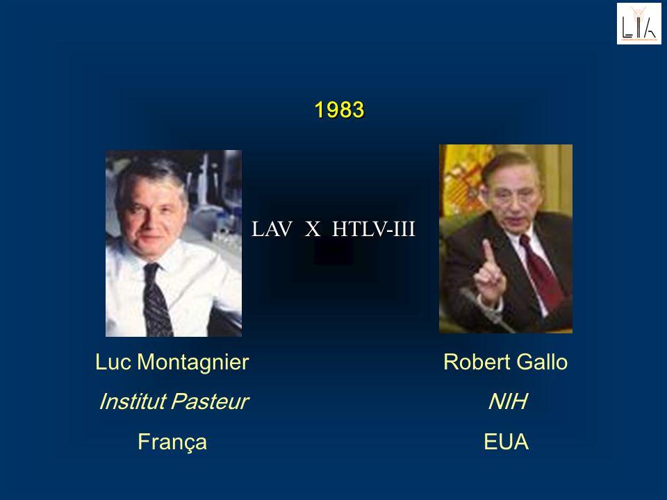 1983 LAV X HTLV-III Luc Montagnier Institut Pasteur França