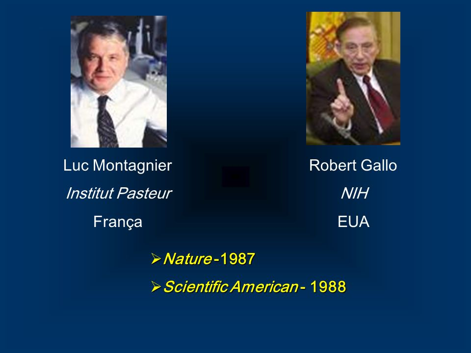 Luc Montagnier Institut Pasteur França Robert Gallo NIH EUA Nature -1987 Scientific American - 1988