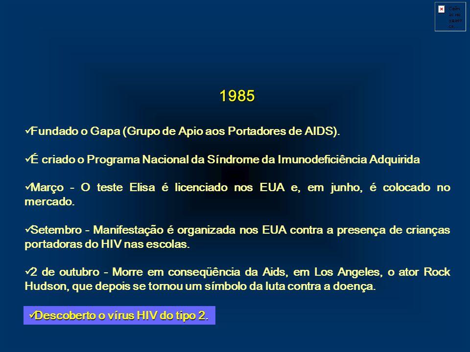 1985 Fundado o Gapa (Grupo de Apio aos Portadores de AIDS).