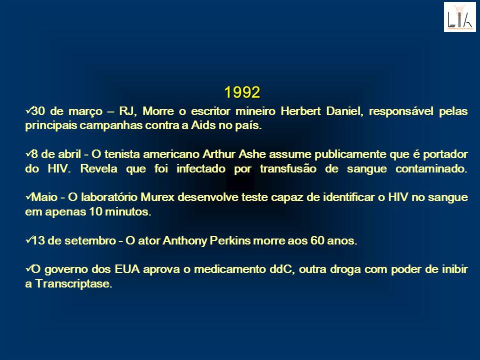 1992. 30 de março – RJ, Morre o escritor mineiro Herbert Daniel, responsável pelas principais campanhas contra a Aids no país.
