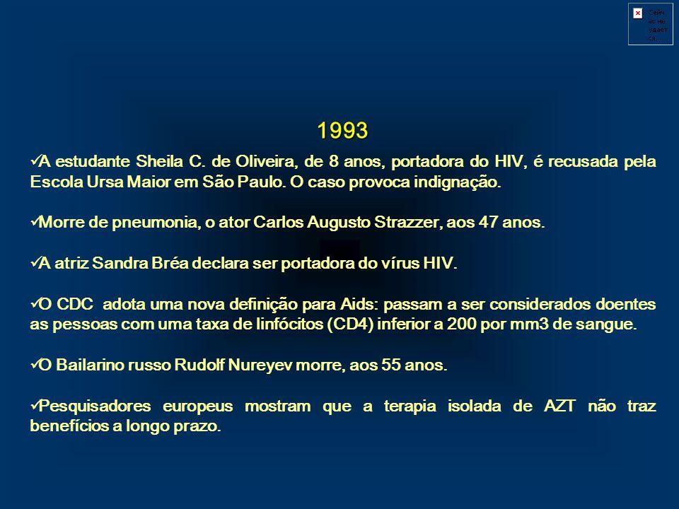 1993. A estudante Sheila C. de Oliveira, de 8 anos, portadora do HIV, é recusada pela Escola Ursa Maior em São Paulo. O caso provoca indignação.