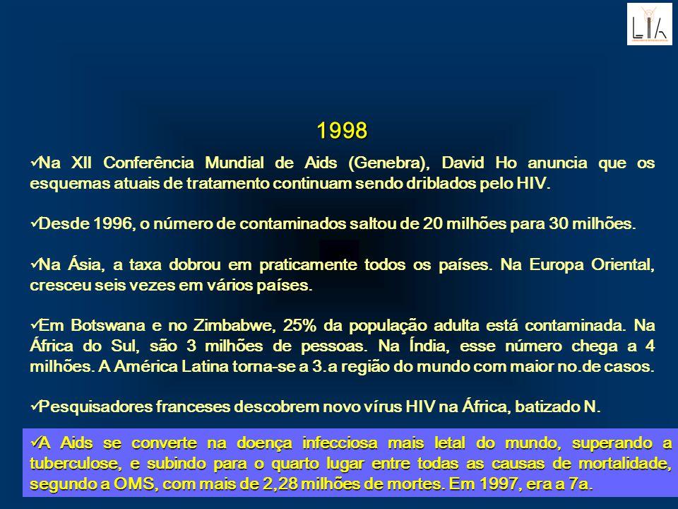 1998. Na XII Conferência Mundial de Aids (Genebra), David Ho anuncia que os esquemas atuais de tratamento continuam sendo driblados pelo HIV.