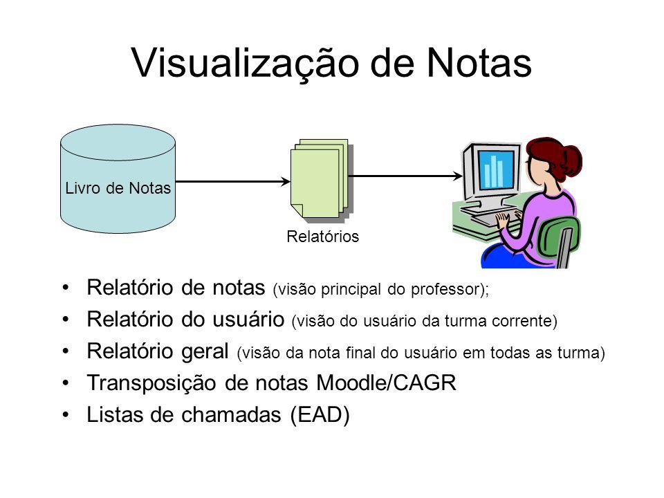 Visualização de Notas Livro de Notas. Relatórios. Relatório de notas (visão principal do professor);